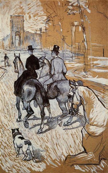 Horsemen Riding in the Bois de Boulogne, 1888 - Henri de Toulouse-Lautrec