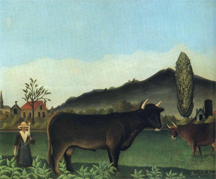 (Landscape with cow), c.1886 - Henri Rousseau