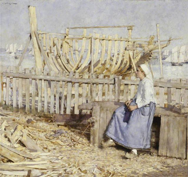 The Boat Builder's Yard, Cancale, Brittany, 1881 - Henry Herbert La Thangue