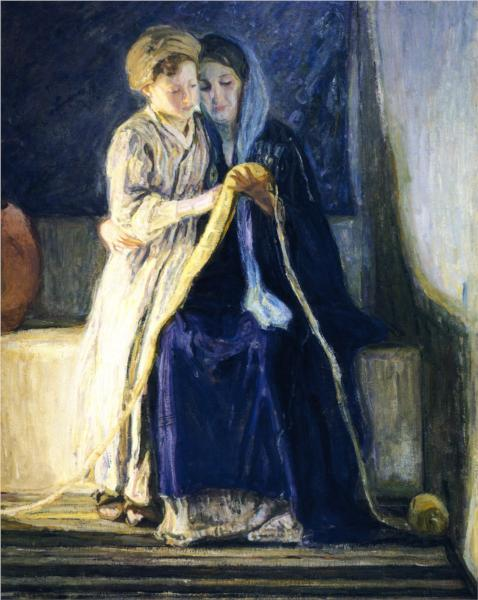 Christ and His Mother Studying the Scriptures, 1910 - Henry Ossawa Tanner