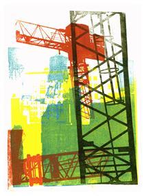 'Modern City' No 1. - mono-print art, 2010; Dutch artist, Hilly van Eerten - Hilly van Eerten