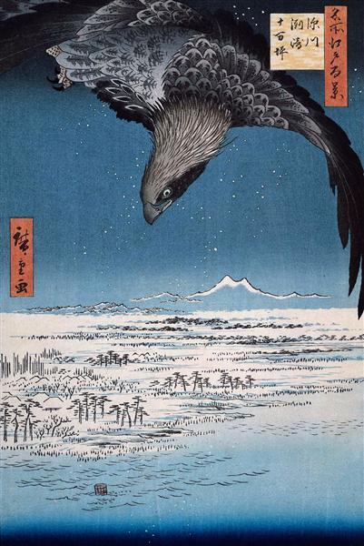 Eagle Over 100,000 Acre Plain at Susaki, Fukagawa (Juman-tsubo) - Hiroshige