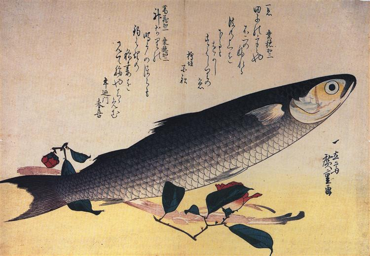 Grey mullet and camellia - Hiroshige