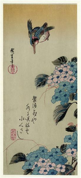 Hydrangea and Kingfisher - Hiroshige