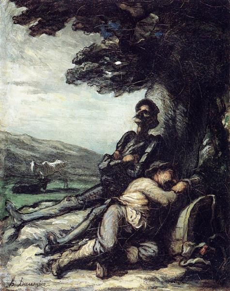 Don Quixote and Sancho Pansa Having a Rest under a Tree, c.1855 - Honore Daumier