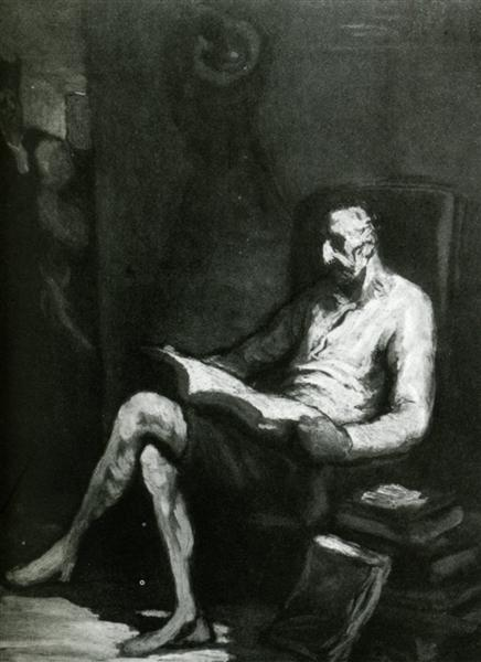 Don Quixote Reading, c.1865 - c.1870 - Honore Daumier