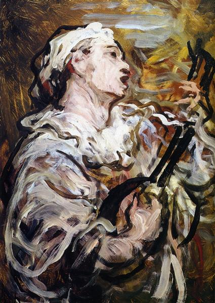 Pierrot with Guitar, 1869 - Honore Daumier