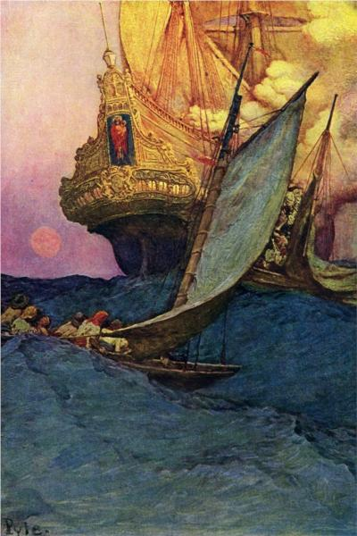 An Attack on a Galleon - Howard Pyle