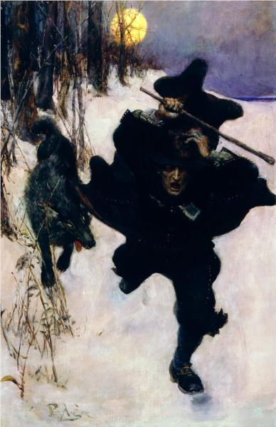 Once it Chased Dr. Wilkerson Into the Very Town Itself, 1909 - Howard Pyle