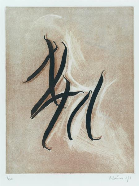 Calligraphy of green beans - photogravure Hubertine Heijermans, 1981 - Hubertine Heijermans