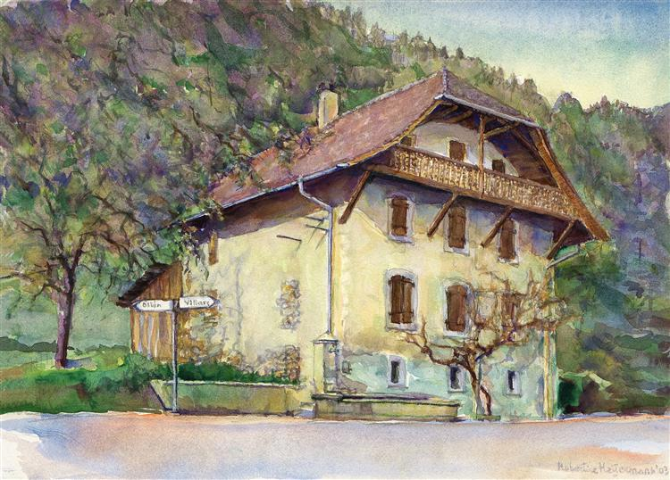 House of the Dime near Ollon; a tax house in the Canton Vaud, Switzerland -landscape painting art in watercolor - Hubertine Heijermans