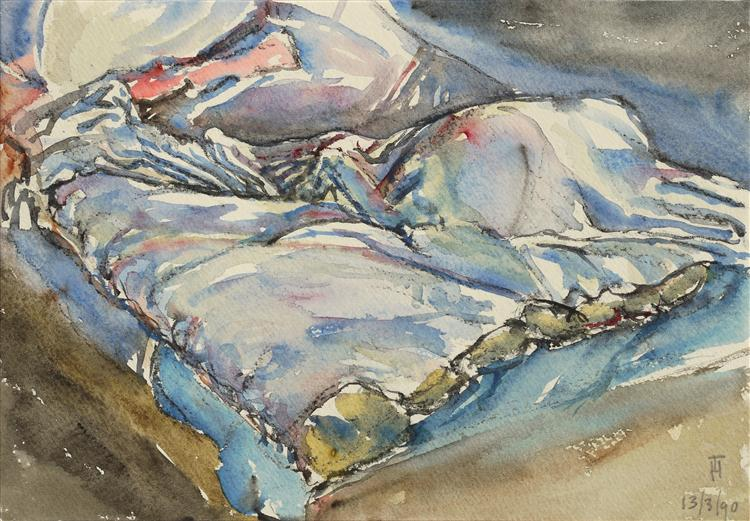 Watercolor art of my hospital bed, nr. 23 - sketch on paper, 1990 - Hubertine Heijermans