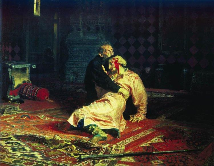 Ivan the Terrible and His Son Ivan on November 16, 1581 - Ilya Repin