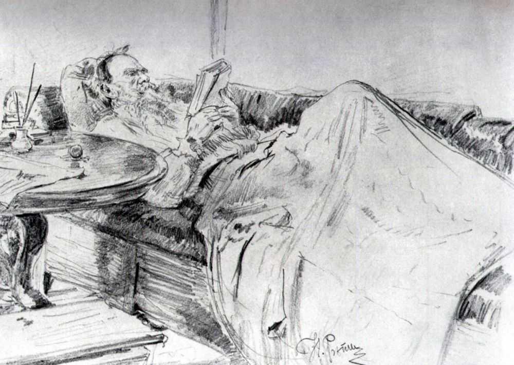 Leo Tolstoy reading, 1891