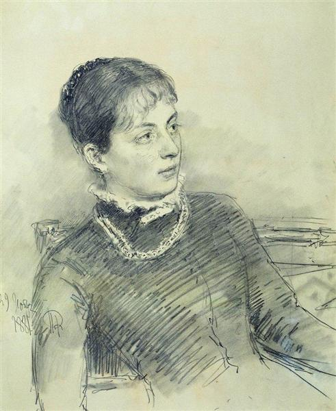 Portrait of a young wife, sitting on the couch, 1881 - Ilya Repin