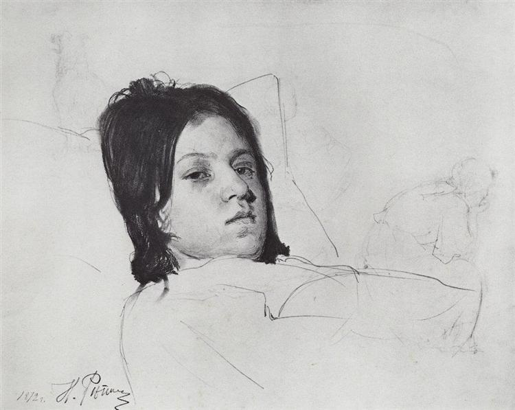 Woman's Head (V.A. Repina lying in bed), 1872 - Ilya Repin
