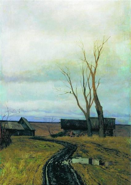 Autumn. Road in a Village., 1877 - Isaac Levitan