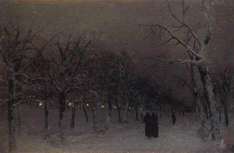 Boulevard in the evening., 1883 - Isaac Levitan
