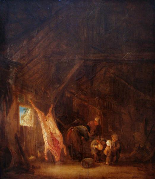 A Barn Interior with a Slaughtered Pig, Children Playing Beyond, 1645 - Isaac van Ostade