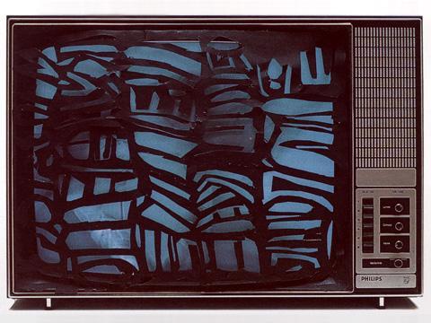 La télévision dechiquetée ou l'anti-crétinisation (Jagged Television or Anti-Cretinization), 1989 - Isidore Isou