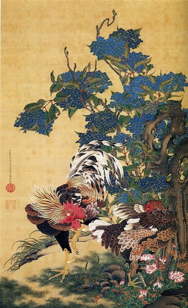 Rooster and Hen with Hydrangeas - Дзякутю Ито