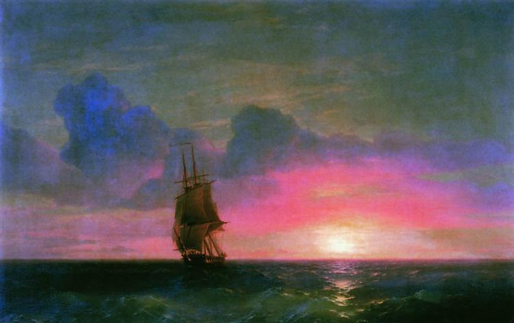 Sunset. A lone sailboat, 1853 - Ivan Aivazovsky