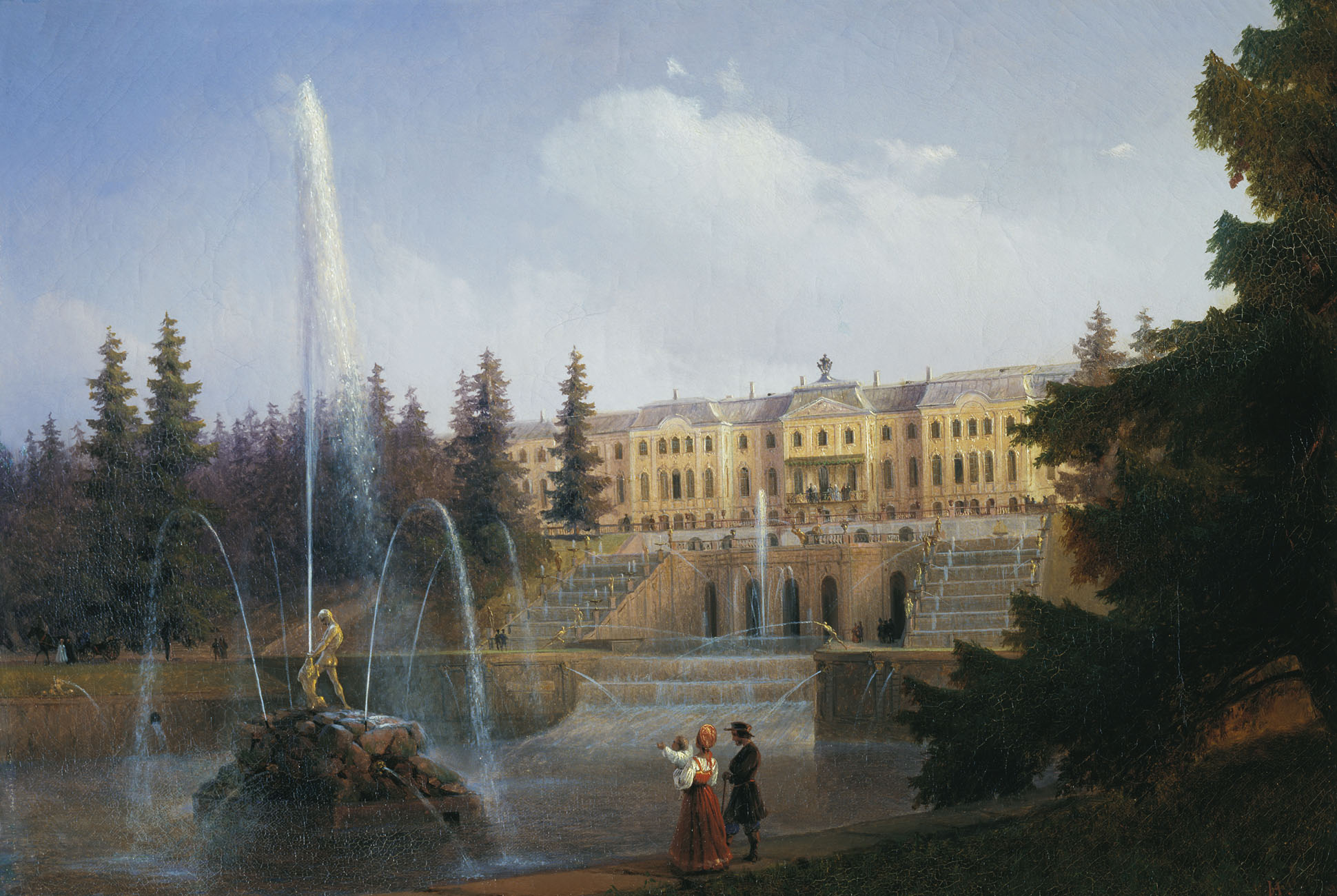 View of the Big Cascade in Petergof and the Great Palace of Petergof, 1837