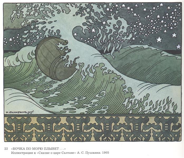 Illustration for Alexander Pushkin's 'Fairytale of the Tsar Saltan' - Bilibin Ivan