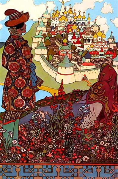 Illustration for Alexander Pushkin's 'Fairytale of the Tsar Saltan', 1905 - Ivan Bilibin