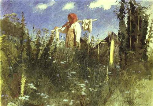 Girl with Washed Linen on the Yoke - Ivan Kramskoy