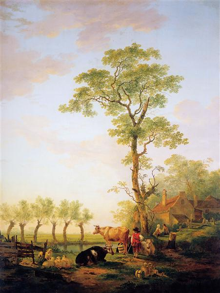 Dutch landscape with cattle and farm - Jacob van Strij