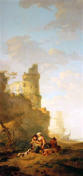 Italian landscape with ruin - Jacob van Strij