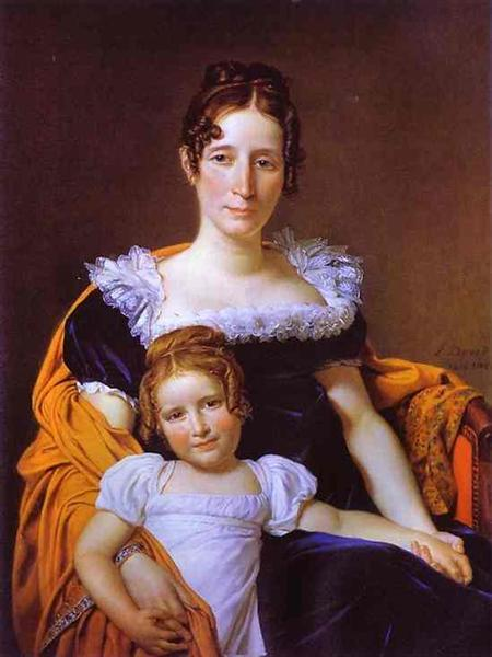 Portrait of the Countess Vilain XIIII and Her Daughter, 1816 - Jacques-Louis David