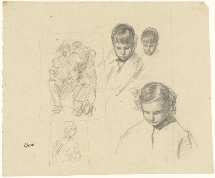 Heads: Children and a Family Group, 1900 - James Charles