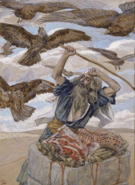 Abraham Guarding His Sacrifice - James Tissot