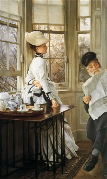 Reading the News, 1874 - Джеймс Тіссо