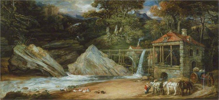 Oberschlächtiges Wasserrad in Wales, 1847 - James Ward