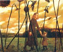 Giuliana and the Sunflowers - Jamie Wyeth