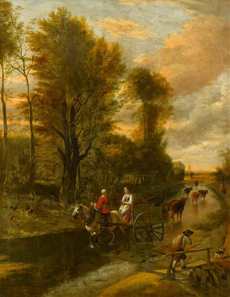 A Horse-Drawn Cart with Two Women Travelling down a Flooded Road at the Edge of a Wood, 1692 - Jan Siberechts