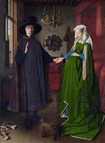 The Arnolfini Wedding. The Portrait of Giovanni Arnolfini and his Wife Giovanna Cenami (The Arnolfini Marriage) - Jan van Eyck