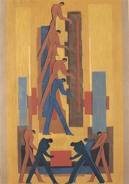 Assembly Line (fresco draft), 1930 - Janos Mattis-Teutsch