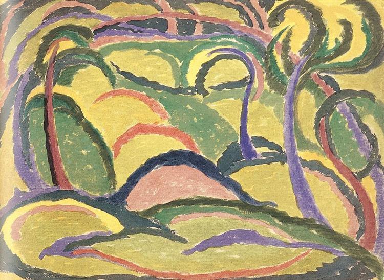 Green and Yellow Landscape, 1910 - Janos Mattis-Teutsch