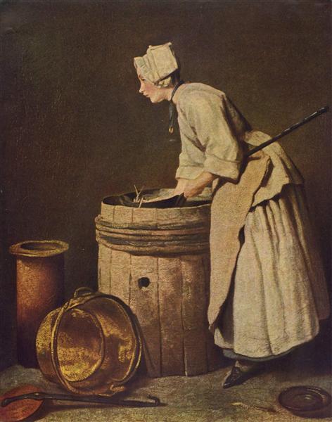 Frau, Geschirr scheuernd, c.1736 - Jean-Baptiste-Simeon Chardin