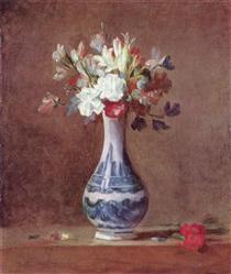 Still Life, Flowers in aVase - Jean-Baptiste-Simeon Chardin
