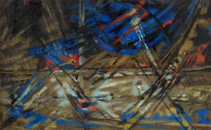 Komposition in Blau, Rot und Braun, 1963 - Jean Bertholle