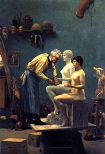 Working in Marble, or The Artist Sculpting Tanagra - Jean-Léon Gérôme