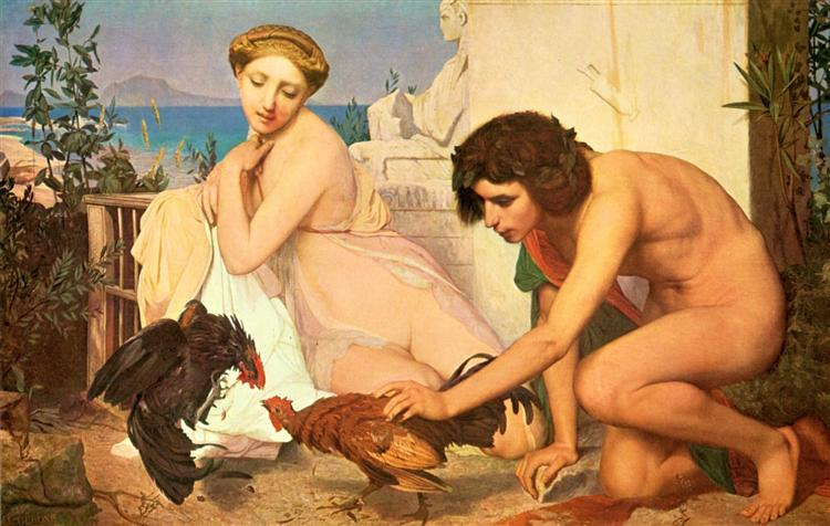 Fomento de jóvenes griegos Cocks de Lucha - Gérôme Jean-León