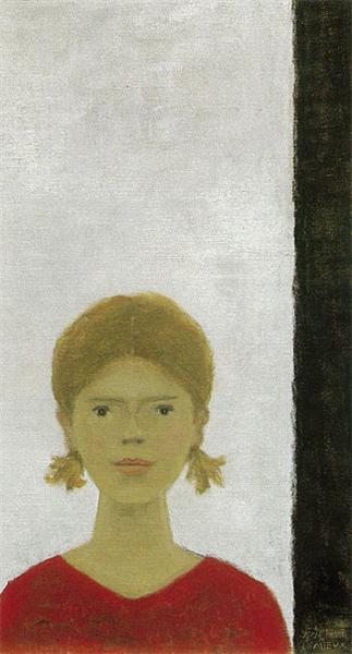 Jeune fille au chandail rouge - Jean Paul Lemieux