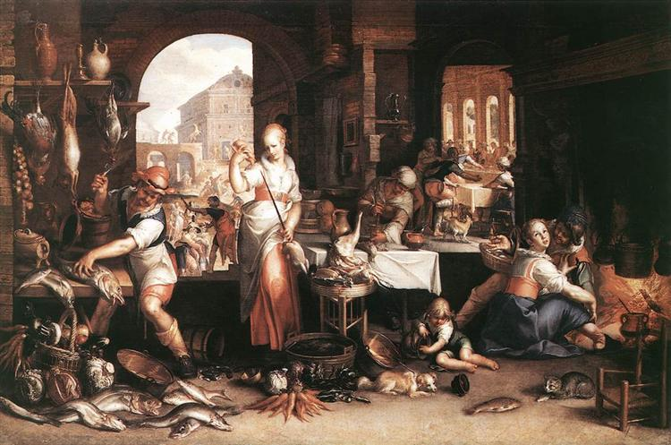 Kitchen Scene, 1605 - Йоахим Ейтевал