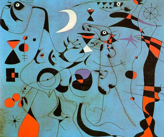 Figure at Night Guided by the Phosphorescent Tracks of Snails, 1940 - Joan Miro